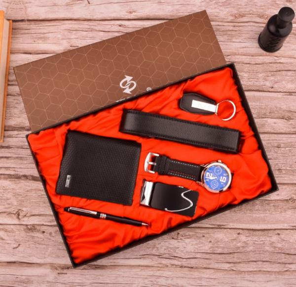 Black Leather Belt,wallet,watch,pen& Keyholder Set