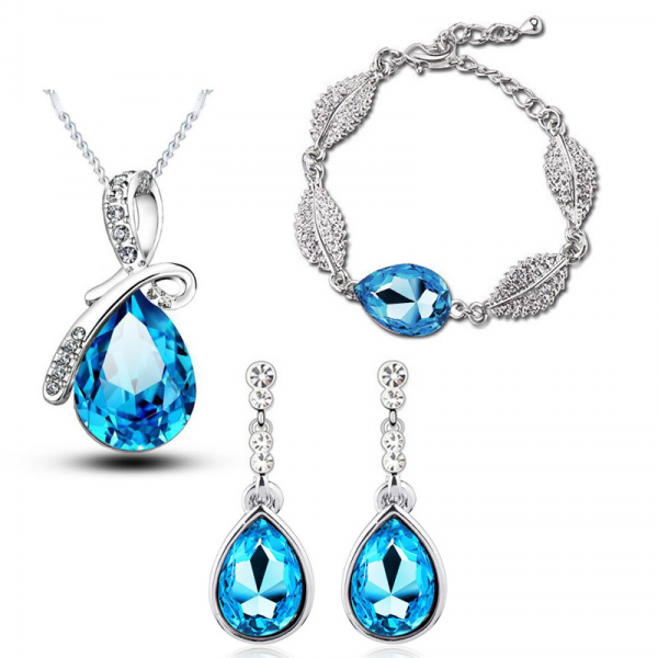 Blue Rhinestone Jewelry Set