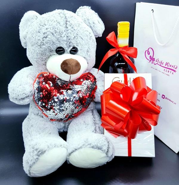 Sequin Heart Bear, Wine, Belgian Chocolates Combo