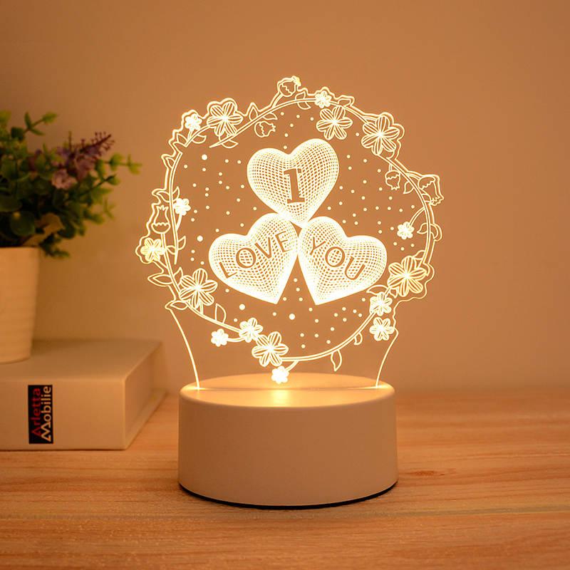 Flowery I Love You 3d Led Lamp
