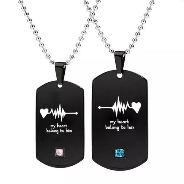 Couple Heartbeat Pendant Necklaces