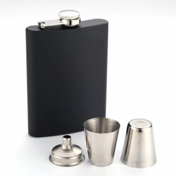 Matte Black 10oz Hip Flask Set