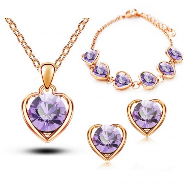 Hearts Rhinestone Jewelry Set