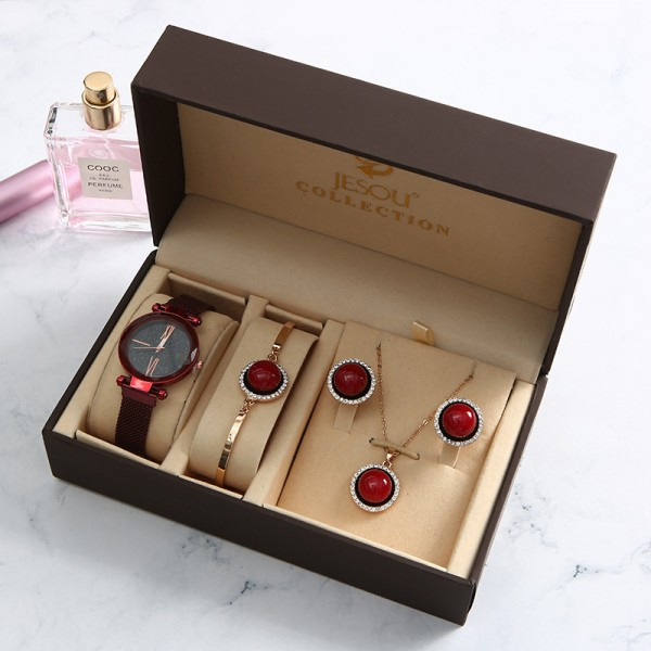 Retro Watch, Necklace, Earrings, Bracelet Gift Set