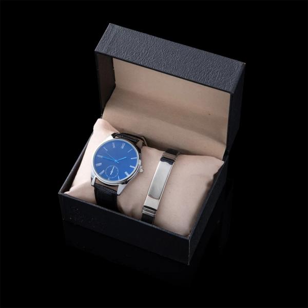 Leather Bracelet & Watch Set