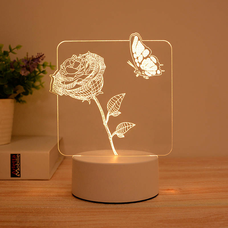 Rose & Butterfly 3d Led Illusion Lamp