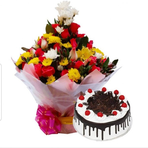Deluxe Flowers & Cake Combo