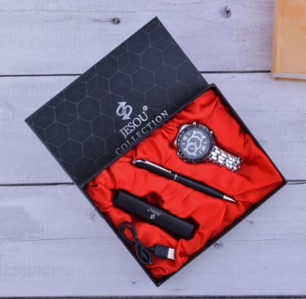 Slim Portable Powerbank,watch,pen Set (black)