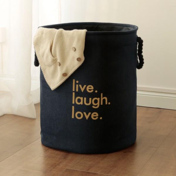 Live, Love, Laugh Collapsible Laundry Baskets (50×40cm)