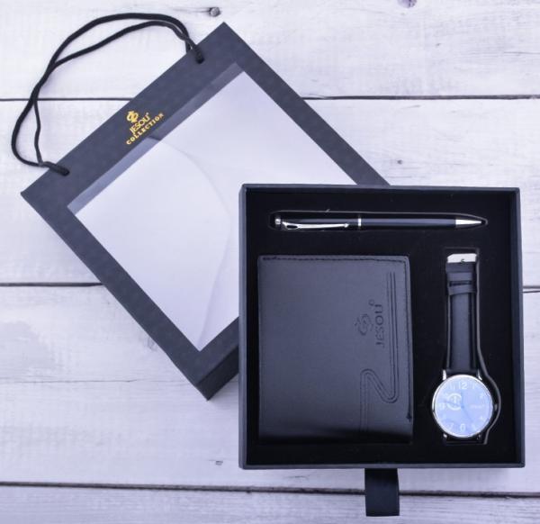 Leather Wallet, Watch & Pen Set.