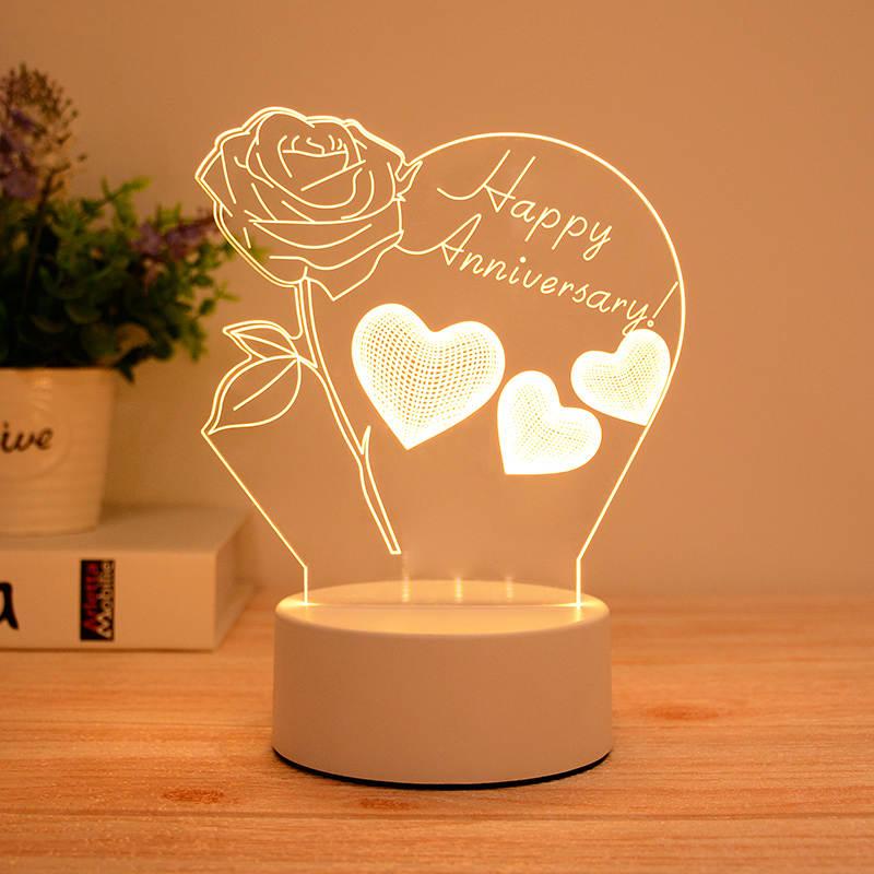 Happy Anniversary 3d Led Illusion Lamp