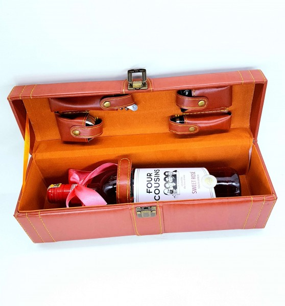 Leather Wine Opening Accessories Case + Wine