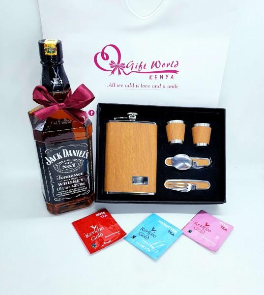 Hip Flask Set & Jd 1ltr