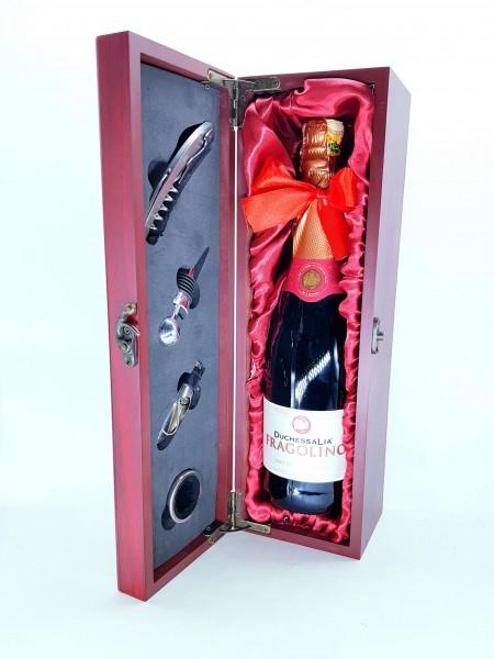Wooden Wine Opening Accessories Case + Wine