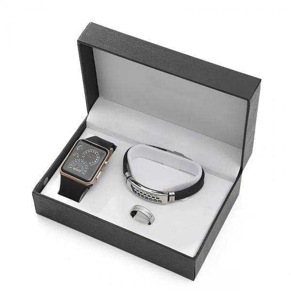 Leather Bracelet, Watch & Ring Set