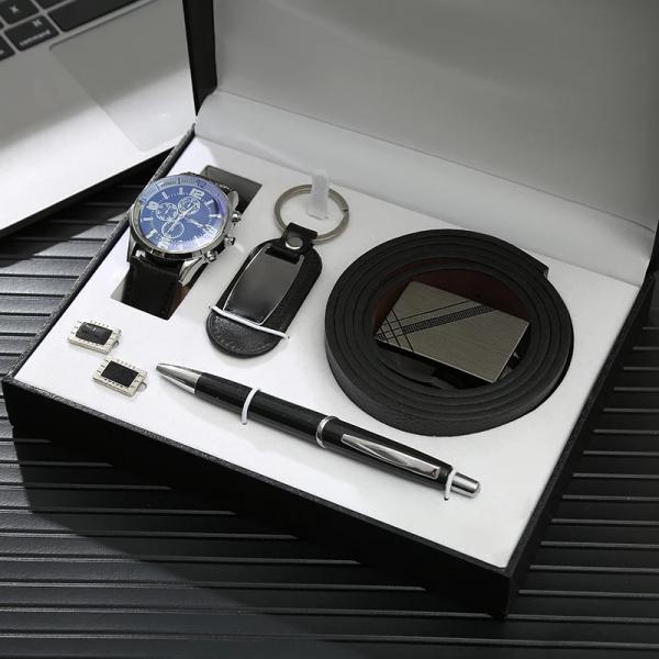 Leather Belt,watch,cufflinks,pen & Keyholder Combo