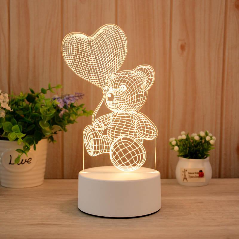 Teddy Love Head 3d Led Illusion Lamp