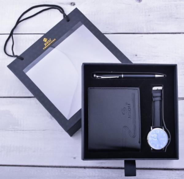 Black Leather Wallet,watch & Pen Set.