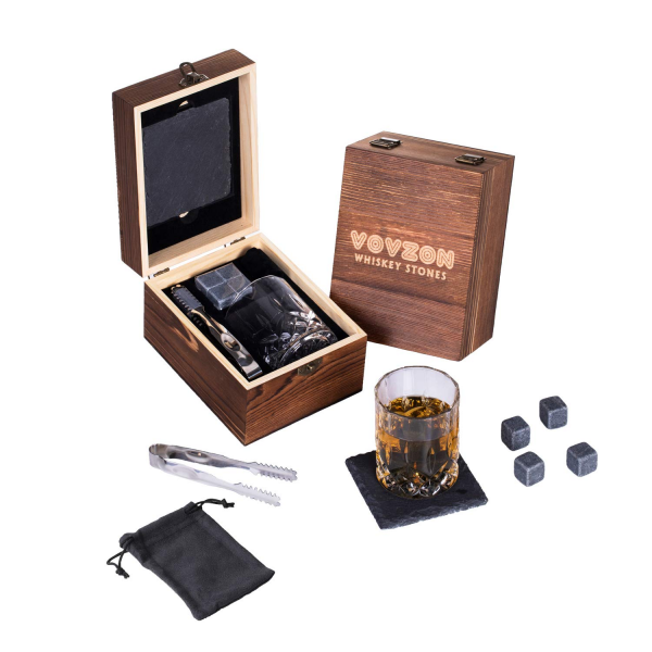 Whisky Stones & Crystal Glass Set