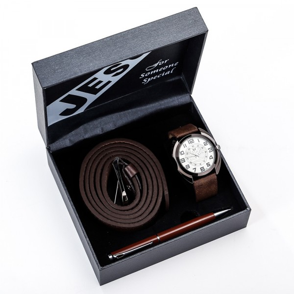 Leather Watch, Belt & Pen Set