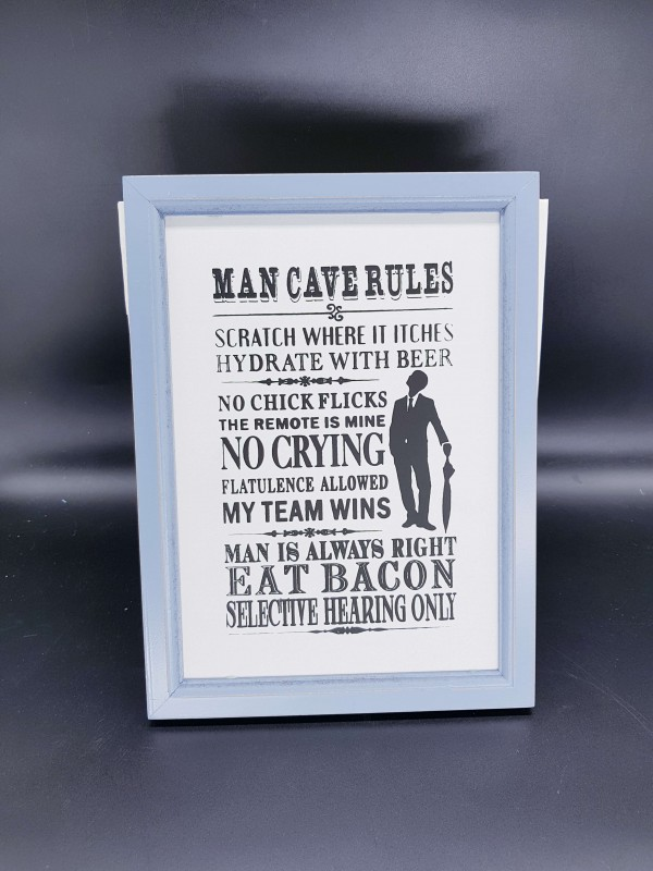 Man Cave Rules Frame A4