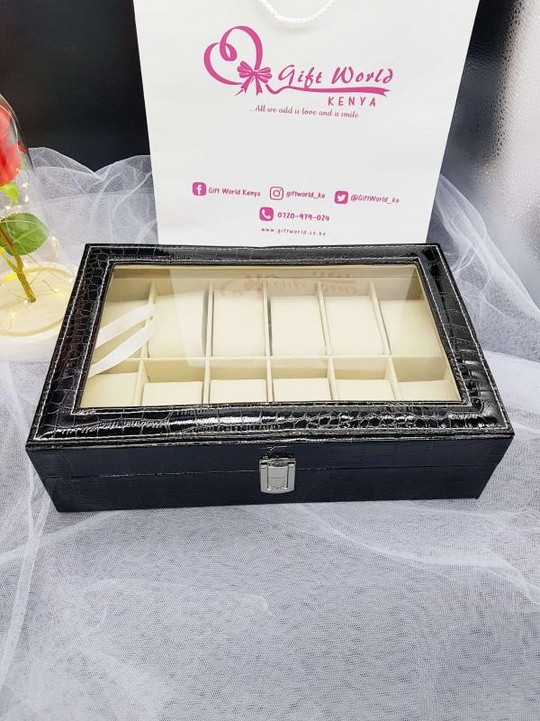 12 Slot Luxury Croc Leather Watch Organizer