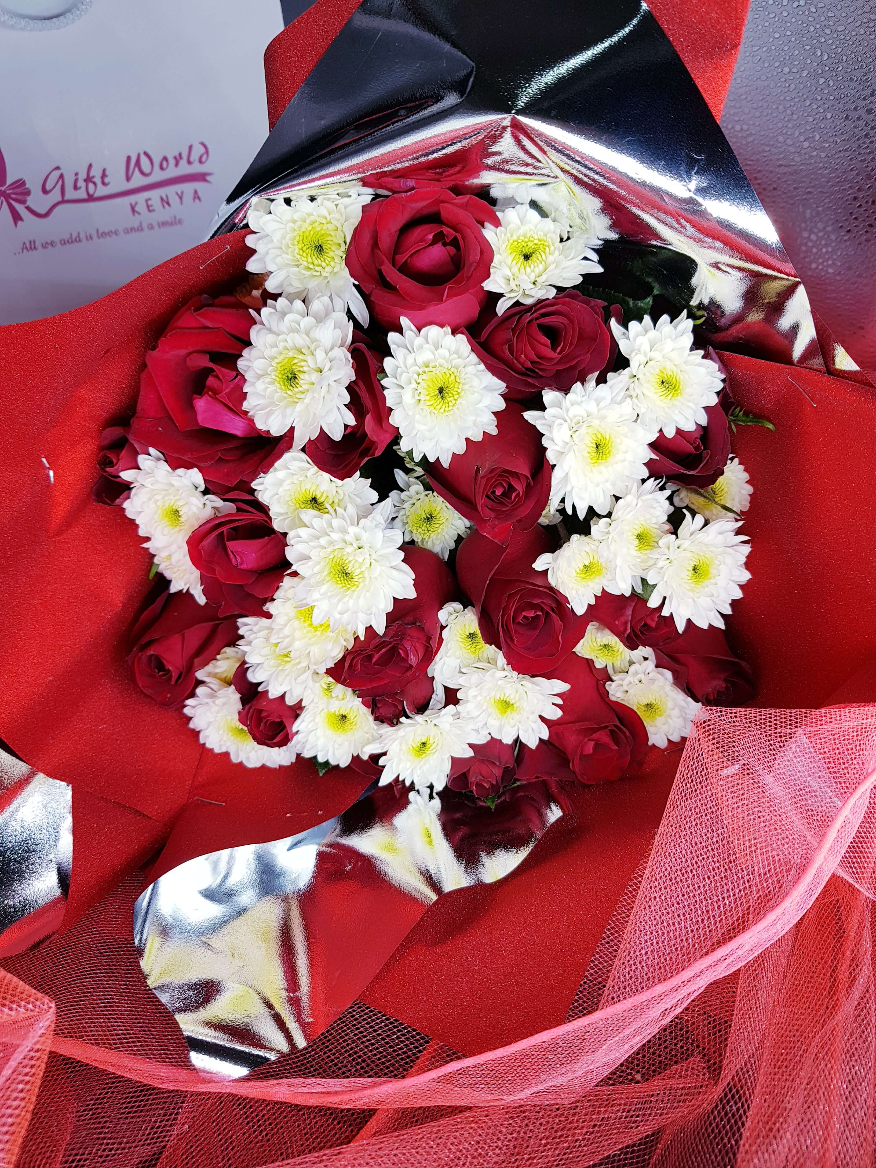 Red Rose's & Mums Combo