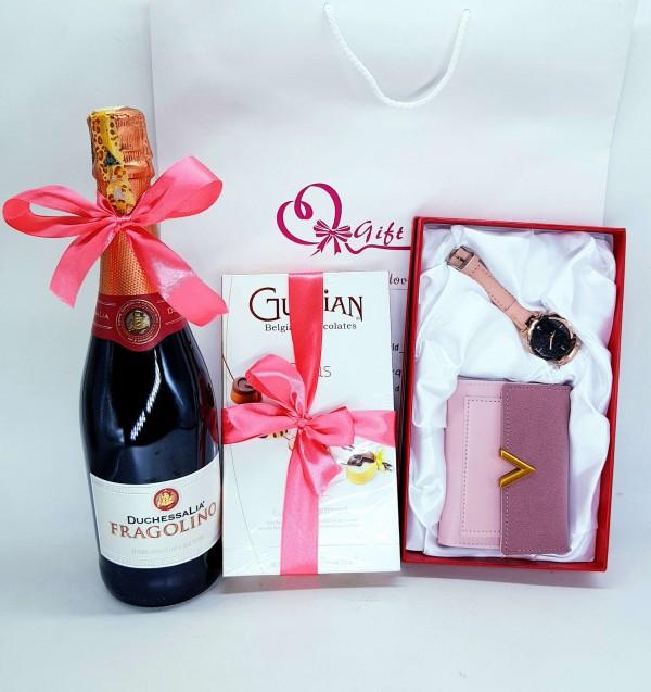 Wine, Belgian Chocolates & Wallet Set